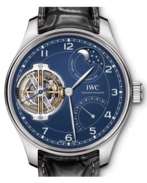 "IWC Portugieser Constant-Force Tourbillon Edition ""150 Years"" IW590203 Blue Arabic Platinum Leather 46mm - BRAND NEW"