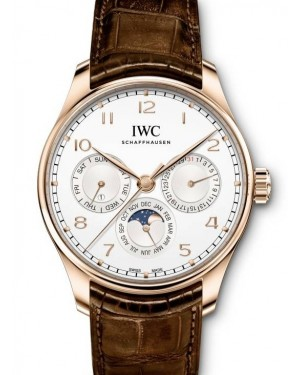 IWC Schaffhausen Portugieser Perpetual Calendar 42 Rose Gold 42mm Arabic Silver Dial Brown Leather Automatic IW344202 - BRAND NEW