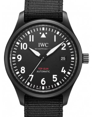 IWC Pilot's Watch Automatic TOP GUN Black Dial Ceramic Bezel & Textile Strap IW326901 - BRAND NEW