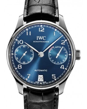 IWC Portugieser Automatic Stainless Steel Blue Dial & Steel Bezel Laether Strap IW500710 - BRAND NEW