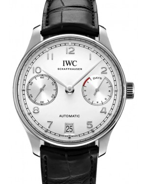 IWC Portugieser Automatic Stainless Steel Silver Dial & Steel Bezel Laether Strap IW500712 - BRAND NEW