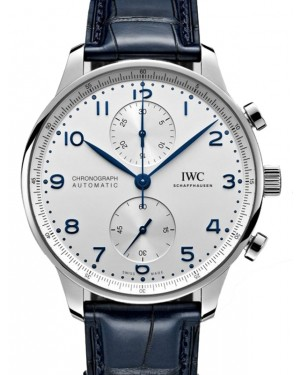 IWC Portugieser Chronograph Silver Dial Stainless Steel Bezel Blue Leather Strap 41mm IW371605  - BRAND NEW