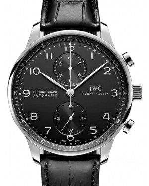 IWC Portugieser Chronograph Stainless Steel Black Dial & Steel Bezel Leather Strap IW371447 - BRAND NEW