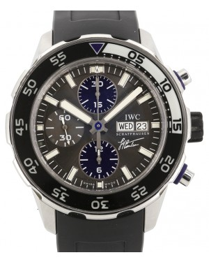 IWC Schaffhausen Aquatimer Chronograph Edition Jacques-Yves Cousteau Stainless Steel Slate Index Dial Rubber Strap IW376706 - PRE-OWNED