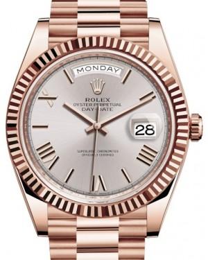 Rolex Day-Date 40 Rose Gold Sundust Roman Dial & Fluted Bezel President Bracelet 228235 - BRAND NEW
