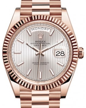 Rolex Day-Date 40 Rose Gold Sundust Stripe Index Dial & Fluted Bezel President Bracelet 228235 - BRAND NEW