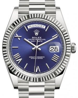 Rolex Day-Date 40 White Gold Blue Roman Dial & Fluted Bezel President Bracelet 228239 - BRAND NEW