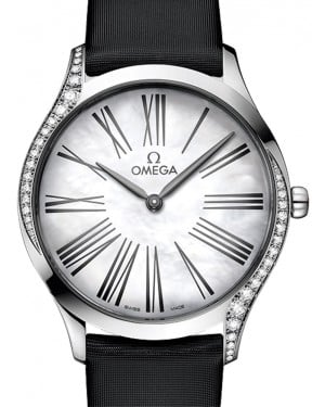 Omega De Ville Tresor Quartz 428.17.36.60.05.001 White Roman Diamond Bezel Stainless Steel Fabric 36mm - BRAND NEW