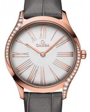 Omega De Ville Tresor Quartz 428.58.36.60.02.001 Silver Roman Diamond Bezel Sedna Gold Leather 36mm - BRAND NEW