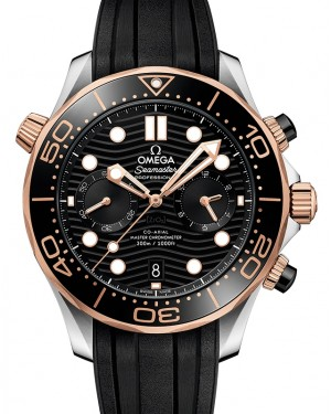 Omega Seamaster Diver 300M Co‑Axial Master Chronometer Chronograph Stainless Steel/Sedna™ Gold Black Dial & Ceramic Bezel Rubber Strap 44mm 210.22.44.51.01.001 - BRAND NEW