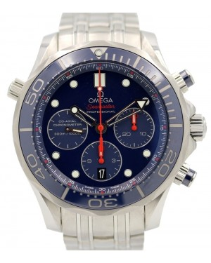 Omega Seamaster Diver 300M Stainless Steel Blue Dial & Ceramic Bezel Co-Axial Chronograph 212.30.44.50.03.001 - PRE-OWNED