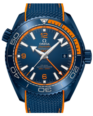 "Omega Seamaster Planet Ocean GMT ""Big Blue"" 600M Ceramic 45.5mm Blue & Orange Dial Rubber Strap  215.92.46.22.03.001 - BRAND NEW"