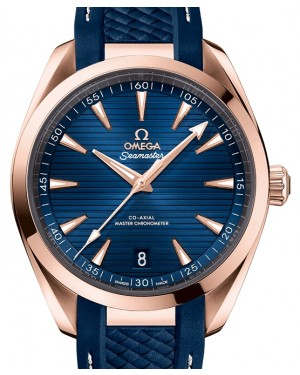 Omega Seamaster Aqua Terra 150M Sedna™ Gold Blue Dial & Rubber Strap 41mm 220.52.41.21.03.001 - BRAND NEW