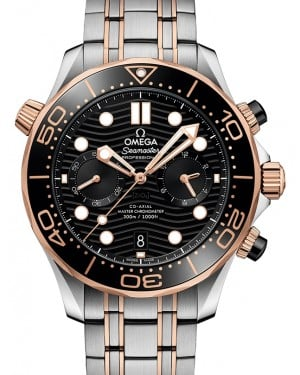 Omega Seamaster Diver 300M Co‑Axial Master Chronometer Chronograph Stainless Steel/Sedna™ Gold Black Dial & Ceramic Bezel Stainless Steel/Sedna™ Gold Bracelet 44mm 210.20.44.51.01.001 - BRAND NEW