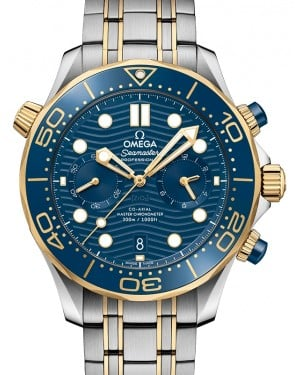 Omega Seamaster Diver 300M Co‑Axial Master Chronometer Chronograph Stainless Steel/Yellow Gold Blue Dial & Ceramic Bezel Stainless Steel/Yellow Gold Bracelet 44mm 210.20.44.51.03.001 - BRAND NEW