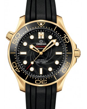 """Omega Seamaster Diver 300M Co‑Axial Master Chronometer """"James Bond"""" Limited Edition Set Yellow Gold Black Dial & Ceramic Bezel Rubber Strap 42mm 210.62.42.20.01.001 - BRAND NEW"""