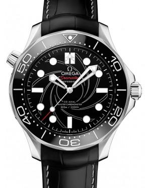 "Omega Seamaster Diver 300M Co‑Axial Master Chronometer ""James Bond"" Numbered Edition Platinum Black Dial & Ceramic Bezel Leather Strap 42mm 210.93.42.20.01.001 - BRAND NEW"