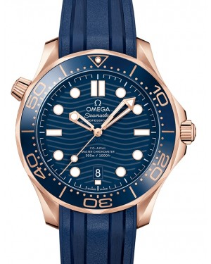Omega Seamaster Diver 300M Co‑Axial Master Chronometer Sedna™ Gold Blue Dial & Ceramic Bezel Rubber Strap 42mm 210.62.42.20.03.001 - BRAND NEW