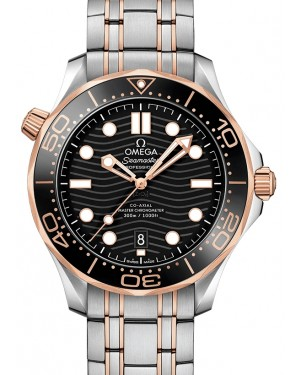 Omega Seamaster Diver 300M Co‑Axial Master Chronometer Stainless Steel/Sedna™ Gold Black Dial & Ceramic Bezel Stainless Steel/Sedna™ Gold Bracelet 42mm 210.20.42.20.01.001 - BRAND NEW