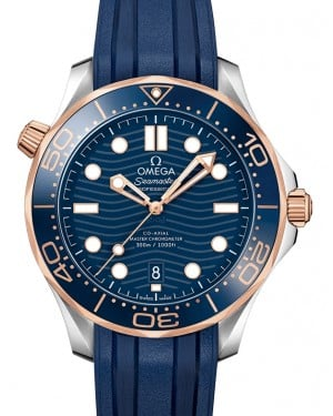 Omega Seamaster Diver 300M Co‑Axial Master Chronometer Stainless Steel/Sedna™ Gold Blue Dial & Ceramic Bezel Rubber Strap 42mm 210.22.42.20.03.002 - BRAND NEW