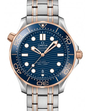 Omega Seamaster Diver 300M Co‑Axial Master Chronometer Stainless Steel/Sedna™ Gold Blue Dial & Ceramic Bezel Stainless Steel/Sedna™ Gold Bracelet 42mm 210.20.42.20.03.002 - BRAND NEW