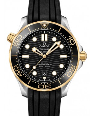 Omega Seamaster Diver 300M Co‑Axial Master Chronometer Stainless Steel/Yellow Gold Black Dial & Ceramic Bezel Rubber Strap 42mm 210.22.42.20.01.001 - BRAND NEW