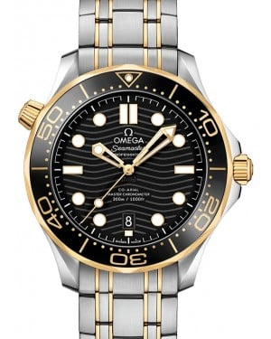 Omega Seamaster Diver 300M Co‑Axial Master Chronometer Stainless Steel/Yellow Gold Black Dial & Ceramic Bezel Stainless Steel/Yellow Gold Bracelet 42mm 210.20.42.20.01.002 - BRAND NEW
