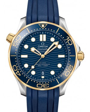 Omega Seamaster Diver 300M Co‑Axial Master Chronometer Stainless Steel/Yellow Gold Blue Dial & Ceramic Bezel Rubber Strap 42mm 210.22.42.20.03.001 - BRAND NEW