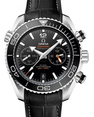 Omega Seamaster Planet Ocean 600M Chronograph Stainless Steel Black Dial Rotating Bezel & Leather Strap 45.5 mm 215.33.46.51.01.001 - BRAND NEW
