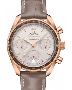 Omega Speedmaster 38 Co‑Axial Chronograph Sedna™ Gold Silver Dial & Aluminium Bezel Leather Strap 38mm 324.63.38.50.02.003 - BRAND NEW