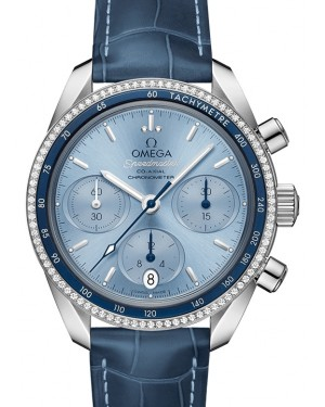Omega Speedmaster 38 Co‑Axial Chronograph Stainless Steel Blue Dial & Diamond Bezel Leather Strap 38mm 324.38.38.50.03.001 - BRAND NEW