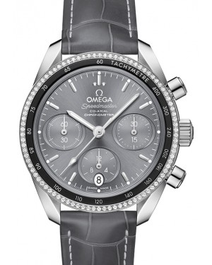 Omega Speedmaster 38 Co‑Axial Chronograph Stainless Steel Grey Dial & Diamond Bezel Leather Strap 38mm 324.38.38.50.06.001 - BRAND NEW