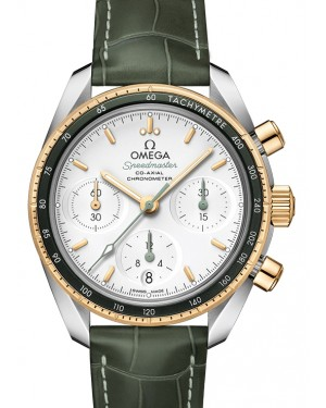 Omega Speedmaster 38 Co‑Axial Chronograph Stainless Steel Silver Dial & Gold Bezel Leather Strap 38mm 324.23.38.50.02.001 - BRAND NEW