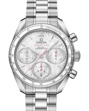 Omega Speedmaster 38 Co‑Axial Chronograph Stainless Steel White Mother Of Pearl Diamond Dial & Ceramic Bezel Steel Bracelet 38mm 324.30.38.50.55.001 - BRAND NEW