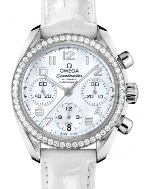 Omega Speedmaster Chronograph Stainless Steel White Mother Of Pearl Dial & Diamond Bezel Leather Strap 38mm 324.18.38.40.05.001 - BRAND NEW