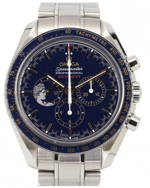 Omega Speedmaster Moonwatch Apollo 17 45th Anniversary Limited Blue Dial & Bezel Stainless Steel Bracelet 42mm 311.30.42.30.03.001 - PRE-OWNED