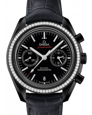 Omega Speedmaster Moonwatch Co-Axial Chronograph Ceramic Black Diamond Dial & Bezel Leather Strap 44.25mm 311.98.44.51.51.001 - BRAND NEW