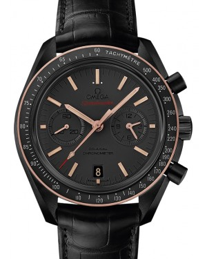 Omega Speedmaster Moonwatch Co-Axial Chronograph Ceramic Matt Grey Dial & Gold Bezel Leather Strap 44.25mm 311.63.44.51.06.001 - BRAND NEW
