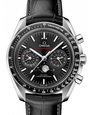 Omega Speedmaster Moonwatch Co‑Axial Master Chronometer Moonphase Chronograph Black Dial & Ceramic Bezel Leather Strap 304.33.44.52.01.001 - BRAND NEW