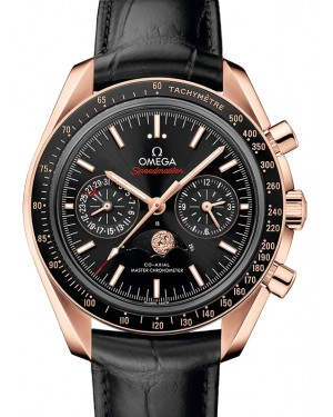 Omega Speedmaster Moonwatch Co‑Axial Master Chronometer Moonphase Chronograph  Sedna™ Gold Black Dial & Ceramic Bezel Leather Strap 44.25mm 304.63.44.52.01.001 - BRAND NEW