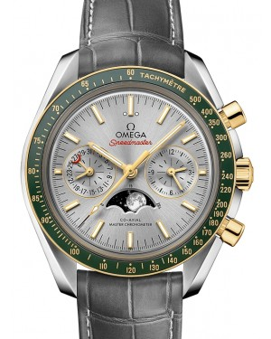 Omega Speedmaster Moonwatch Co‑Axial Master Chronometer Moonphase Chronograph Steel/Yellow Gold Grey Dial & Ceramic Bezel Leather Strap 304.23.44.52.06.001 - BRAND NEW