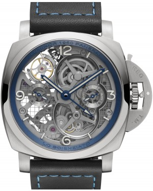 Panerai Lo Scienziato Luminor 1950 Tourbillon GMT Titanio PAM 767 Skeleton Arabic Titanium Leather 47mm - BRAND NEW