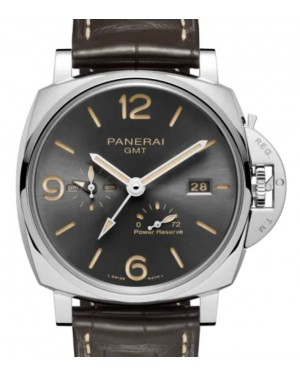 Panerai Luminor Due GMT Power Reserve Stainless Steel 45mm Grey Dial Alligator Leather Strap PAM00944 - BRAND NEW