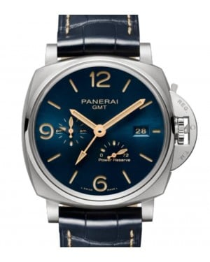 Panerai Luminor Due GMT Power Reserve Titanium 45mm Blue Dial Alligator Leather Strap PAM00964 - BRAND NEW