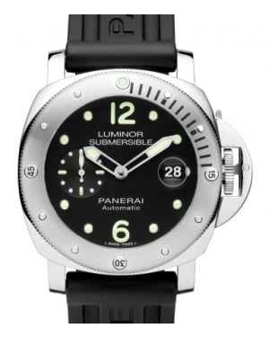 Panerai PAM 1024 Submersible Stainless Steel Black Arabic / Dot Dial & Rotating Rubber Bracelet 44mm - BRAND NEW