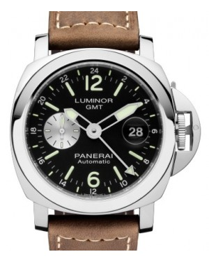 Panerai PAM 1088 Luminor GMT Stainless Steel Black Arabic / Index Dial & Smooth Leather Bracelet 44mm - BRAND NEW