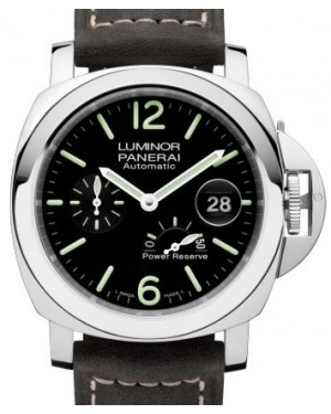 Panerai PAM 1090 Luminor Power Reserve Stainless Steel Black Arabic / Index Dial & Smooth Leather Bracelet 44mm - BRAND NEW