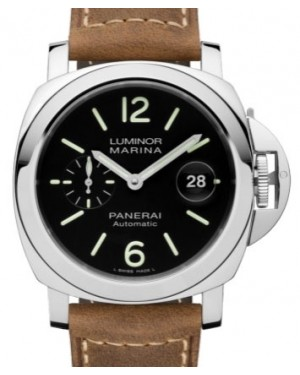 Panerai PAM 1104 Luminor Stainless Steel Black Arabic / Index Dial & Smooth Leather Bracelet 44mm - BRAND NEW