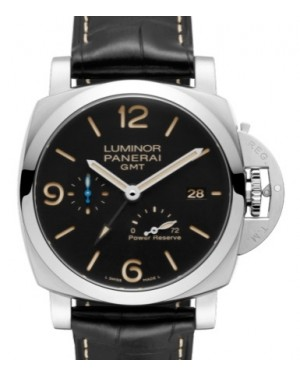 Panerai PAM 1321 Luminor GMT Power Reserve Stainless Steel Black Arabic / Index Dial & Smooth Leather Bracelet 44mm - BRAND NEW