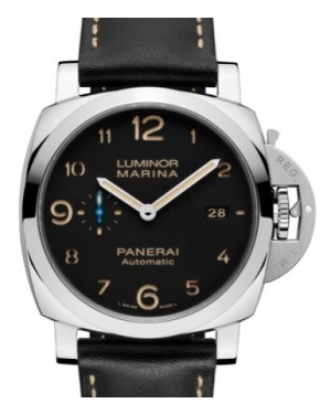 Panerai PAM 1359 Luminor Marina Stainless Steel Black Arabic Dial & Smooth Leather Bracelet 44mm - BRAND NEW